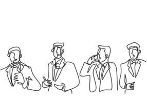 Eine durchgehende Strichzeichnung eines jungen Geschäftsmannes schleift mit einer anderen Pose, die auf weißem Hintergrund isoliert wird. Charakter Geschäftsmann mit erfolgreichem Projekt. Vektorillustration vektor
