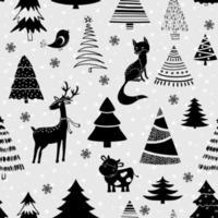 Weihnachtsentwurf mit Baum, Hirsch, Fuchs, Vogel und Kuh. nahtloses Muster für Textilien, Druck- und Geschenkpapier. vektor