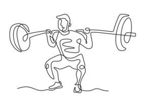 eine durchgehend gezeichnete Gewichtheber-Strichzeichnung aus der Hand ein Bild der Silhouette. Gewichtheben Trainingskonzept. Charakter männlicher Athlet, der Langhantel hebt, lokalisiert auf weißem Hintergrund vektor