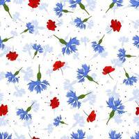 vektor sömlösa mönster med blå blåklint och röda vallmo på vit bakgrund.