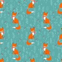 Winterfüchse auf Hintergrundbeerenzweig nahtloses Muster. lustiges Hintergrundweihnachtsblau. Druck für Winterdesign, Stoff und Bezug. vektor