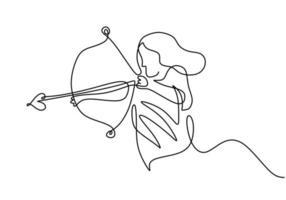 eine fortlaufende Strichzeichnung einer jungen energischen Bogenschützenfrau, die den Bogen zieht, um ein Bogenschießziel zu schießen. weiblicher Fokus des professionellen Bogenschützen, um Zielhand zu treffen, die mit minimalistischem Design gezeichnet wird vektor