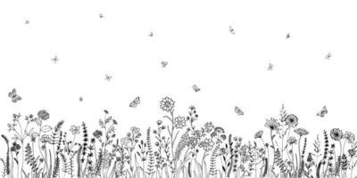 Wildblumen und verschiedene Insekten. Modeskizze für verschiedene Designideen. Schwarzweißdruck. vektor