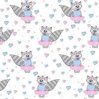 Cartoon Waschbär in einem Kleid mit Herzen. nahtloses lustiges Muster. Druck für Kinderkleidung und Elementdesign. vektor