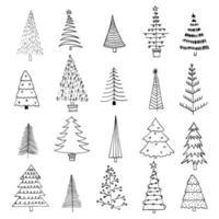Sammlung von 20 verschiedenen Weihnachtsbäumen. grobe Handzeichnung des schwarzen Liners. Neujahr Tannendekoration Gekritzel Skizze. kann für Stoff, Handyhülle und Geschenkpapier verwendet werden. vektor