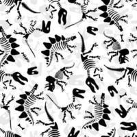 Dinosaurierskelett und Fossilien. Vektor nahtloses Muster. Originalentwurf mit Dinosaurierknochen und -spuren. Druck für T-Shirts, Textilien, Web.