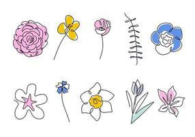 Satz fortlaufender einzeiliger Zeichnung einer schönen Blume in verschiedenen Arten wie Kamelie, Tulpe, Mohn, Sakura, Azalee, Nahonana, Nemophilie, Shibazakura usw. Vektorfrühlingsblumenillustration vektor