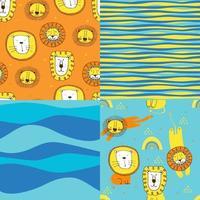 uppsättning söta sömlösa mönster i barnstil. färgglad vektorillustration med lejon, stjärnor och remsor. roliga vektor sömlösa mönster för snygg tyg design, papper, webb.