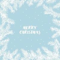Tannenzweig mit Zapfen unter dem Schneefall. Vektor Weihnachtsgrußkarte. für Weihnachtsdekoration, Poster, Banner, Verkauf und andere Winterveranstaltungen.
