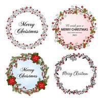 Weihnachtskranz gesetzt. Urlaub nahtlose Dekoration. Illustration für Postkarten, Grüße, Karten, Logo. vektor
