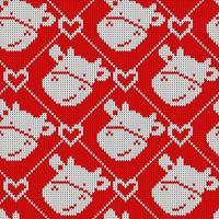 nahtloses Strickmuster mit hübscher Kuh und Herz. lustiger Weihnachtshintergrund für Stoff, Geschenkpapier und Küchentextil. vektor