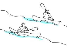 eine fortlaufende Strichzeichnung eines energiegeladenen Athleten-Bootsrennens auf dem Fluss. Eine Ruderergruppe, die in langen Booten genießt, konkurriert isoliert auf weißem Hintergrund. Teammitglied Ruderboot Teamwork-Konzept vektor