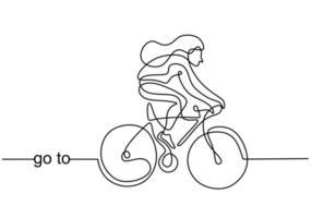 kontinuerlig linje ritning av ung energisk sportig kvinna cykel racer fokus träna hennes skicklighet på cykelbana. atletisk flicka som trampar på sin cykel så snabbt. väg cyklist koncept. vektor illustration