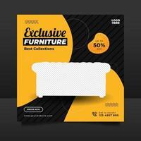exklusiv möbelförsäljningsbanner eller postmall för sociala medier vektor