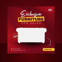 lyxiga möbler försäljning banner eller sociala medier post mall vektor