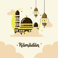 uppsättning ramadanemblem med moskéer och ornament vektor