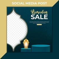 ramadan försäljning marknadsföring banner. redigerbar mall för sociala medier. Ramadan kareem-design 3d med pallen vektor