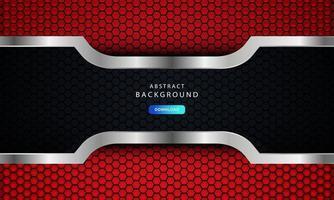 abstraktes dunkles Rot auf metallischen Linien mit Sechseck-Netzmusterdesign, Vektorillustration auf dunklem futuristischem modernem Hintergrund. vektor
