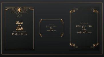 Luxus-Hochzeitseinladungskartenset vektor
