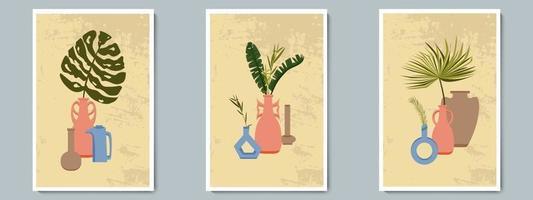 Hand zeichnen Keramik Vase Poster Set mit tropischen Pflanzen. trendige Collage zur Dekoration im griechischen Stil. vektor