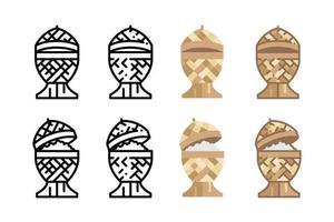 Thailand klebrige Reisbox Symbole. vektor