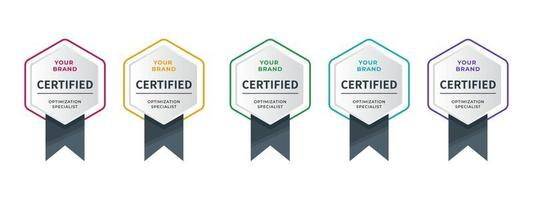 Logo-Abzeichen für technische Zertifikate, Analysten, Internet, Daten, Konferenzen usw. Digital zertifiziertes Logo verifizierte Leistungen Unternehmen oder Unternehmen mit Sechskantband-Design. Vektorillustration. vektor