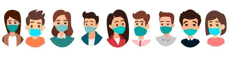 Gruppe von Menschen mit Masken. Leute Gesichter mit Maskenikone isolierten Vektor auf weißem Hintergrund.