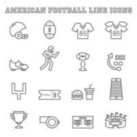 amerikansk fotboll linje ikoner vektor