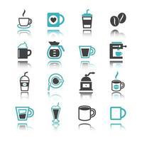 kaffe ikoner med reflektion vektor