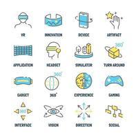 virtuell verklighet vektor linje ikoner med platta färger