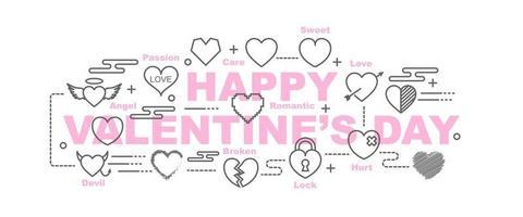 glad Alla hjärtans dag vektor banner