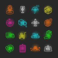 logistisk neon ikonuppsättning vektor