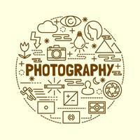 fotografering minimal tunn linje ikoner set vektor