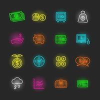 pengar neon ikonuppsättning vektor