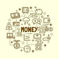 pengar minimal tunn linje ikoner set vektor