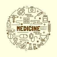 medicinsk minimal tunn linje ikoner set vektor