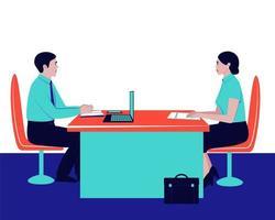 chefen intervjuar en potentiell anställd vektor