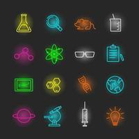 vetenskap neon ikonuppsättning