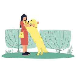 Hundeführer umarmt ihren goldenen Labrador-Hund vektor