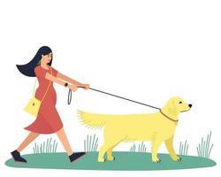 en kvinna går med sin älskade hund, labrador retriever vektor