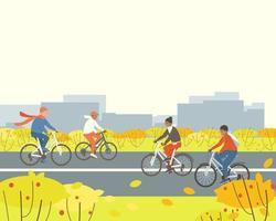 Menschen fahren Fahrrad in einem Park außerhalb der Stadt vektor
