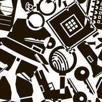 sömlöst abstrakt mönster med ikoner av detektivteman vektor