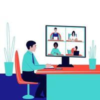 Der Chef führt eine Unternehmensvideokommunikation und eine Ferndiskussion durch vektor