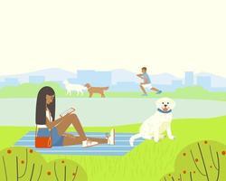 illustration av en park eller lekplats med en damm för promenader hundar vektor
