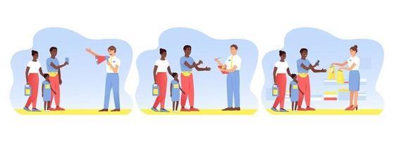 Set mit reisenden afroamerikanischen Kunden, die einen Kauf tätigen vektor