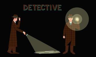 detektiv med en ficklampa i två olika poser vektor