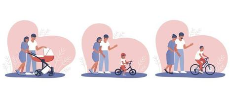 eine Reihe von glücklichen Eltern, die ein Kind großziehen vektor