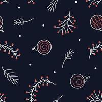 nahtloses Weihnachtsmuster aus Zweigen von Kiefern-, Ebereschen- und Weihnachtskugeln für Stoffdesign vektor