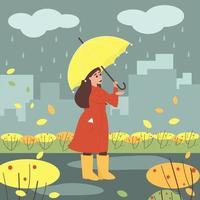 Ein Mädchen steht mit einem Regenschirm im Regen vektor