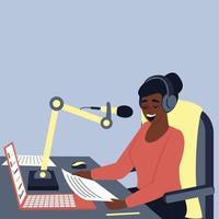 afroamerikansk kvinnlig radiovärd sänder i studion vektor